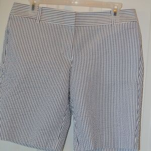J. Crew Women's Gray White Striped Shorts Size 6